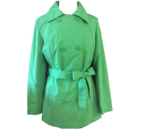 Womens Versatile Fully Lined Double Breasted Collar Tie Belt Waist Mac Jacket