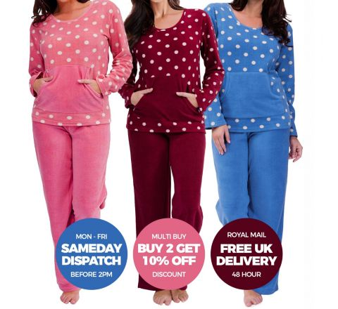 Polka Dot Warm Fleece Pyjamas