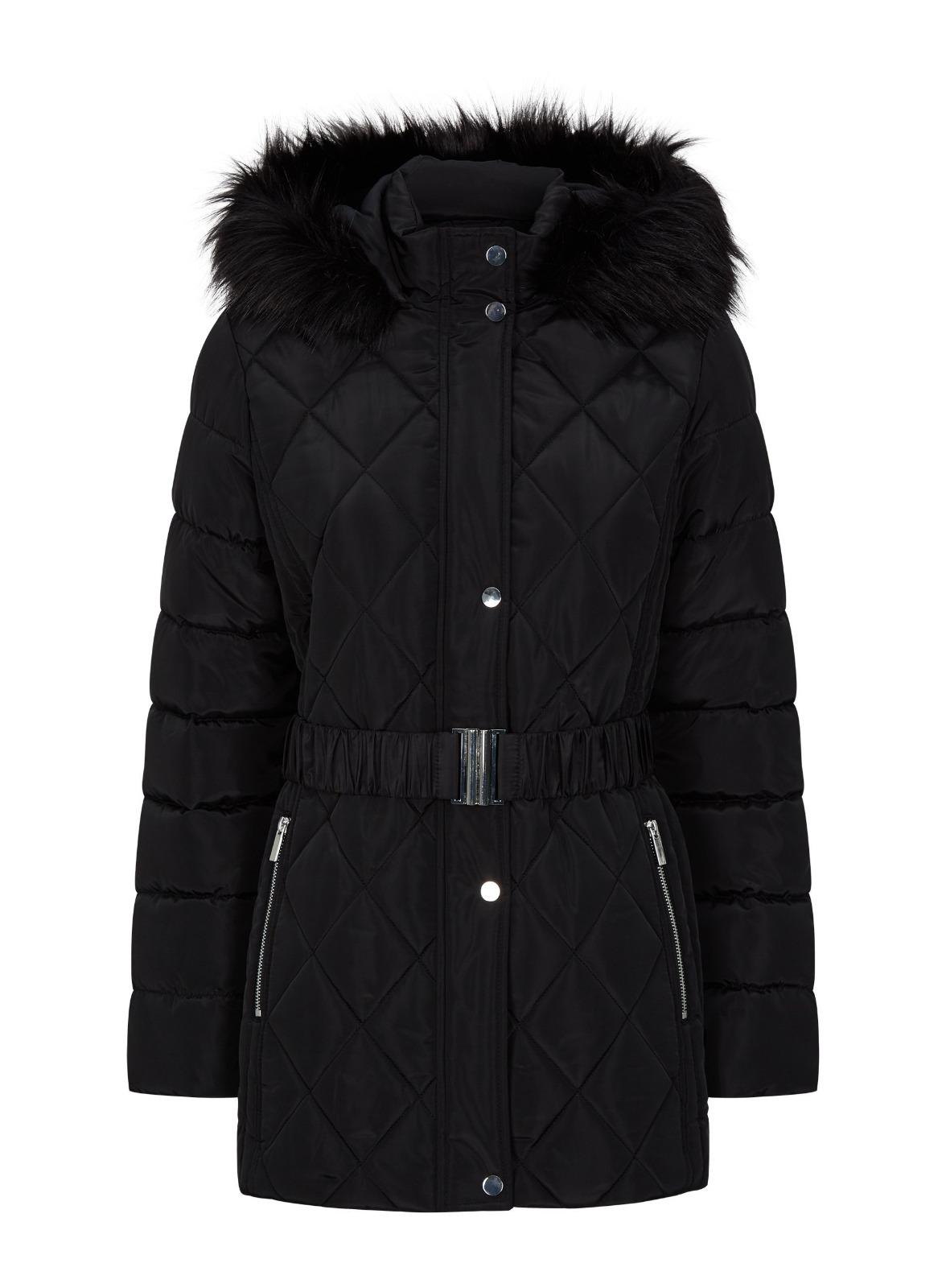 miniature 22 - DP Femme Noir Hiver Court Fourrure Veste Matelassée Manteau Taille 8 10 12 14 16 18