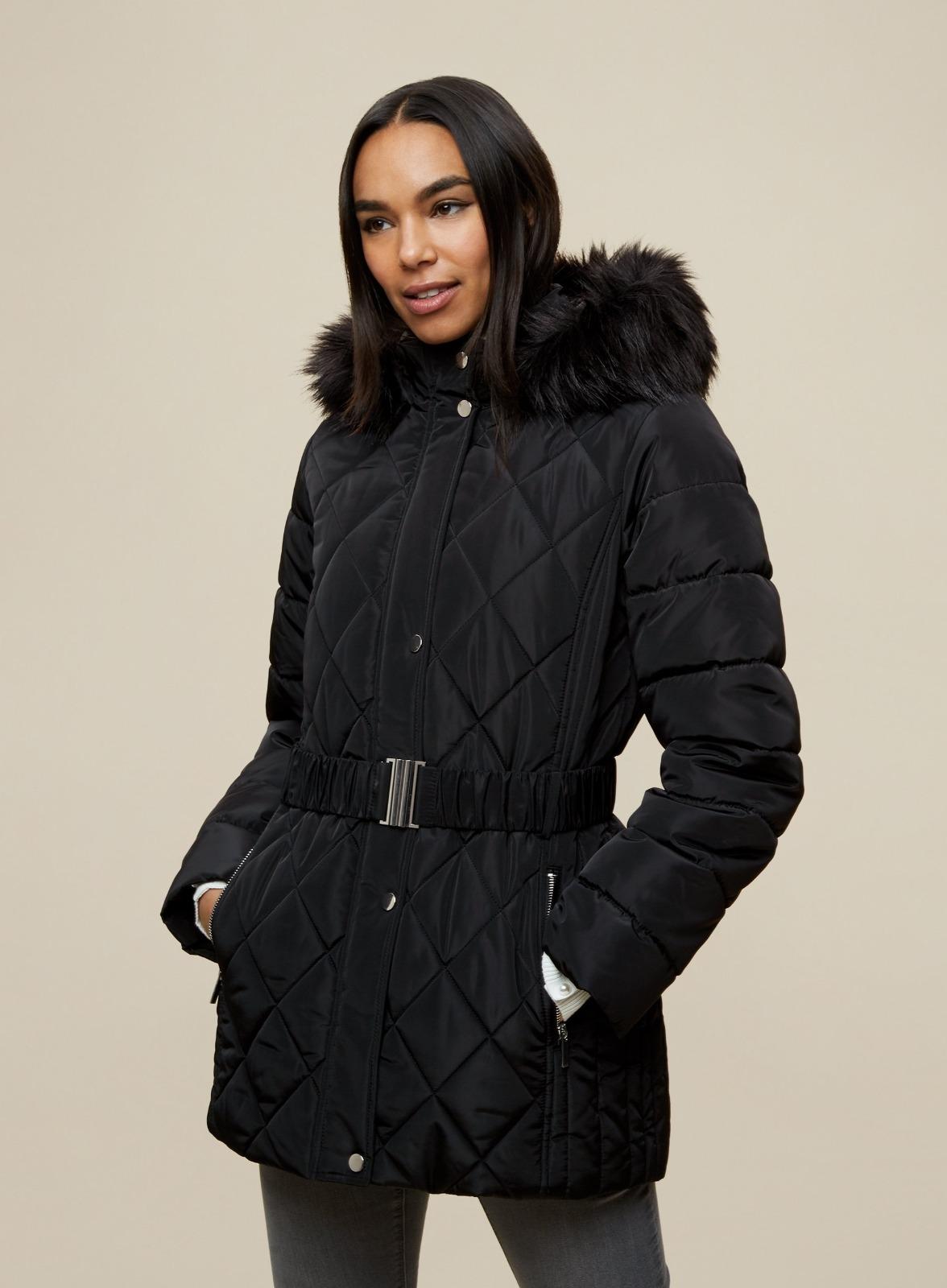 miniature 13 - DP Femme Noir Hiver Court Fourrure Veste Matelassée Manteau Taille 8 10 12 14 16 18