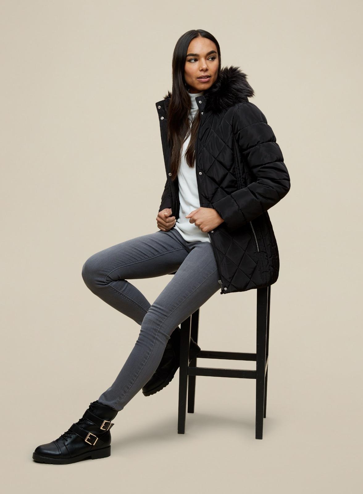 miniature 19 - DP Femme Noir Hiver Court Fourrure Veste Matelassée Manteau Taille 8 10 12 14 16 18