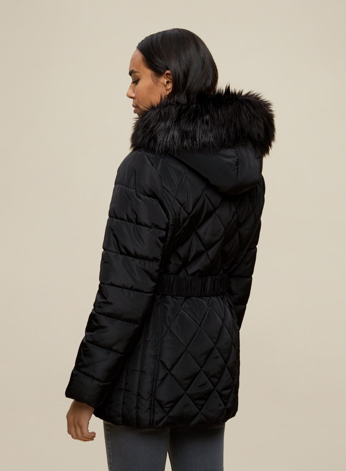 miniature 20 - DP Femme Noir Hiver Court Fourrure Veste Matelassée Manteau Taille 8 10 12 14 16 18
