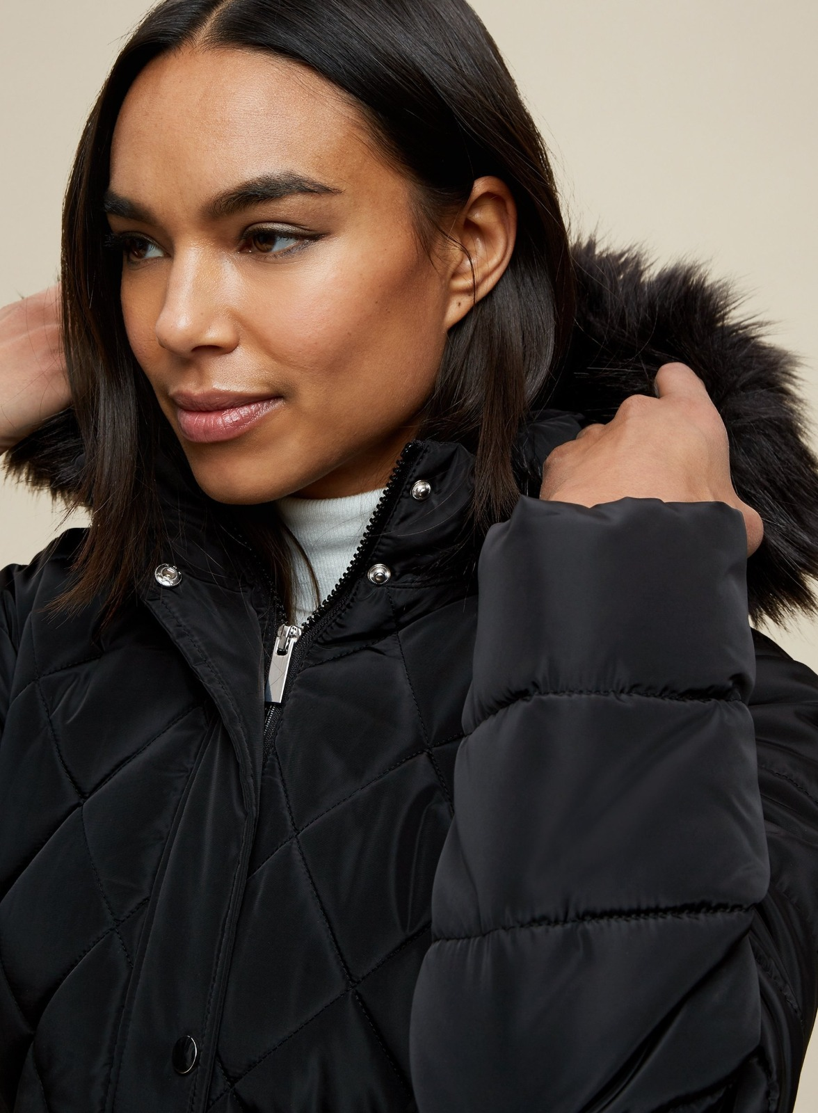 miniature 16 - DP Femme Noir Hiver Court Fourrure Veste Matelassée Manteau Taille 8 10 12 14 16 18