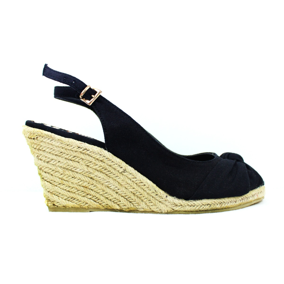 150b2f5ee060 Details about Womens Black Wedge Espadrilles Mid Heel Summer Sandals Ankle  Strap UK Size 4 5 6