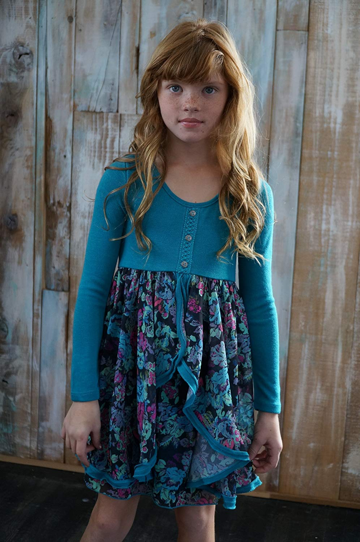 4d3e51d62a ... Girls Blue Floral Print Chiffon Ruffle Dress Kids Summer Party Dresses  Age 7 8