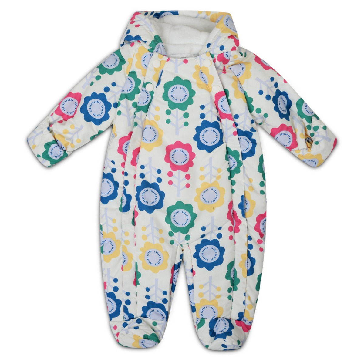 229d76a98 M&S Baby Snowsuit Newborn Floral All in One Pramsuit Ski Suit 0-3 3 ...
