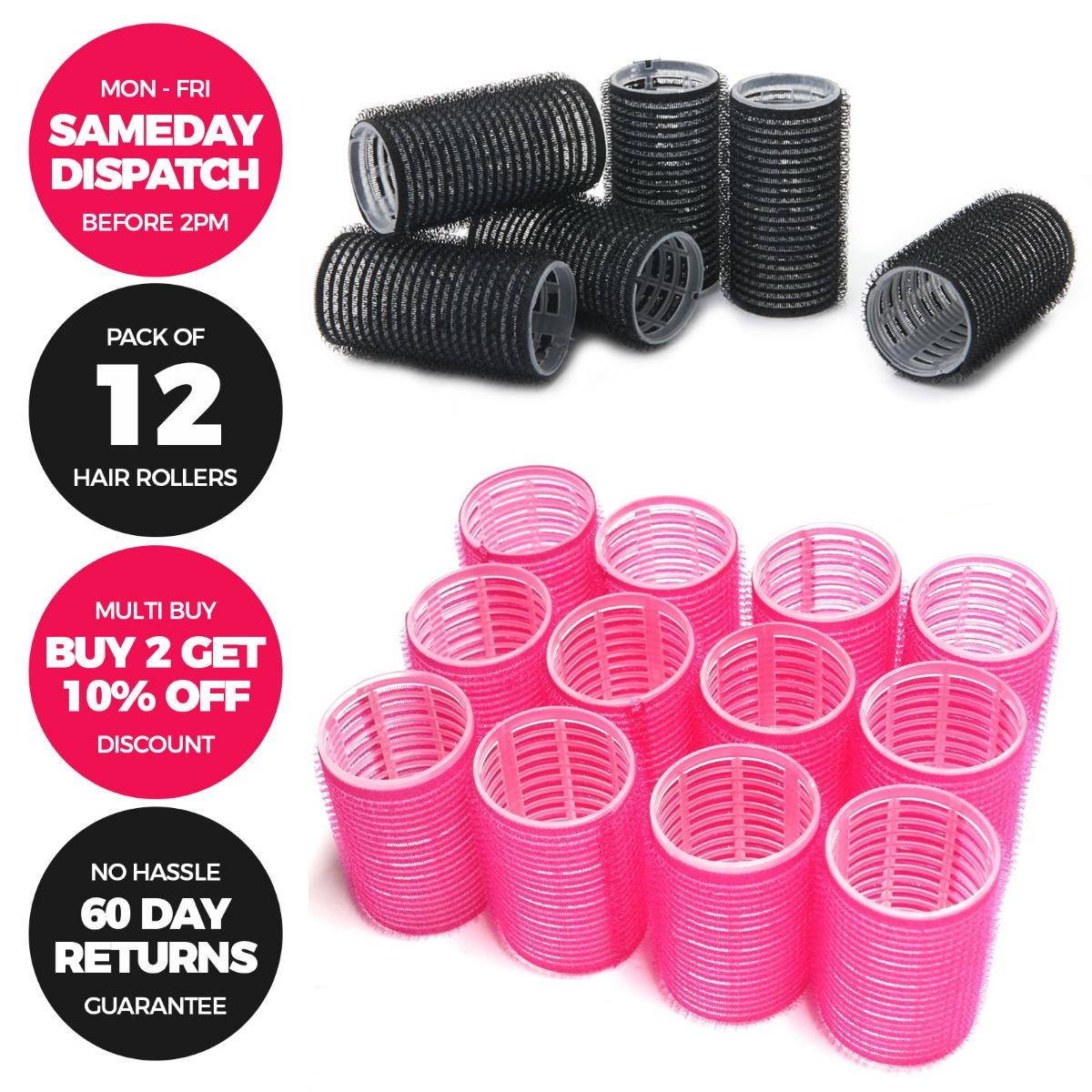 Details about 10 PACK Plastic Hair Rollers Curlers Pro Self Grip - Small  Medium - Pink & Black