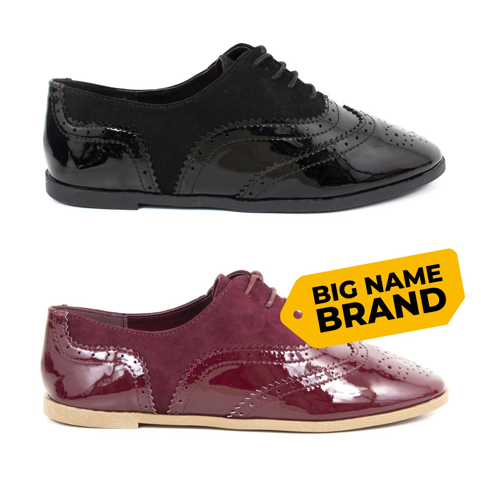 4685ef867b4 Details about Girl Ladies Womens Flat Black Patent Leather Lace Ups Brogues  Shoes School 3-8