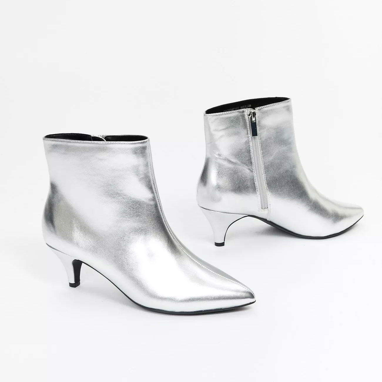 silver high heel ankle boots