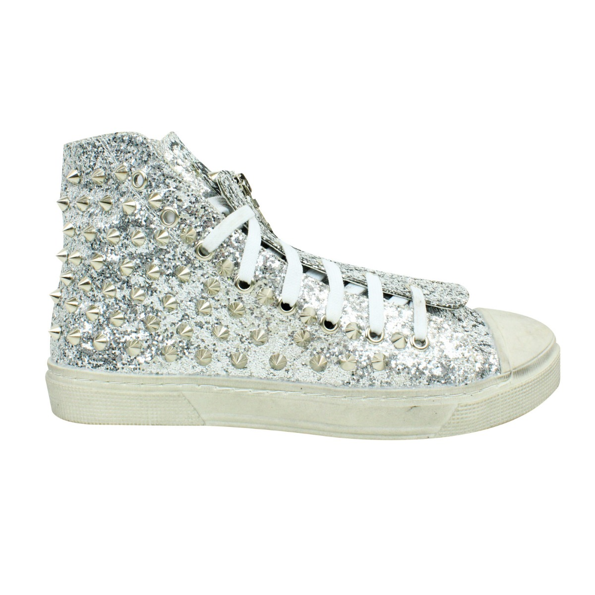 5acb957278aa ... Girls Womens Sparkly Glitter High Top Studded Trainers Lace Up Zip UK  Size 2-7