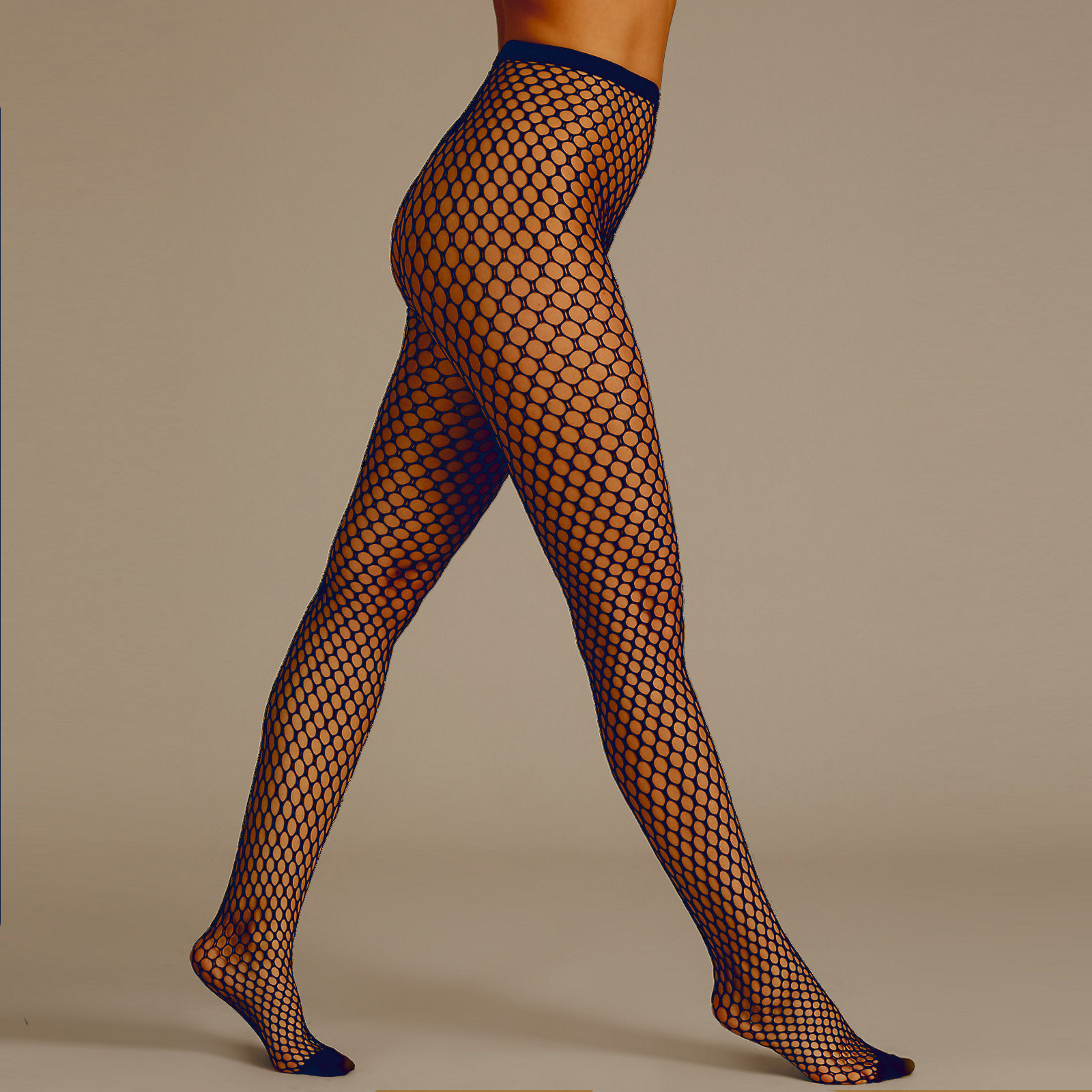 7c73c2a2b6e M S Black Navy Taupe Large Sexy Fishnet Tights S-XL Plus Size Net ...