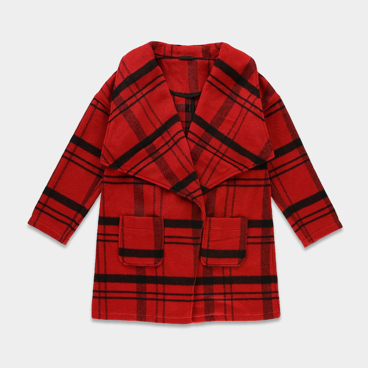 c1738435526a M S Kids Girls Red Checked Trench Winter Coat Jacket Warm Thick Wool ...