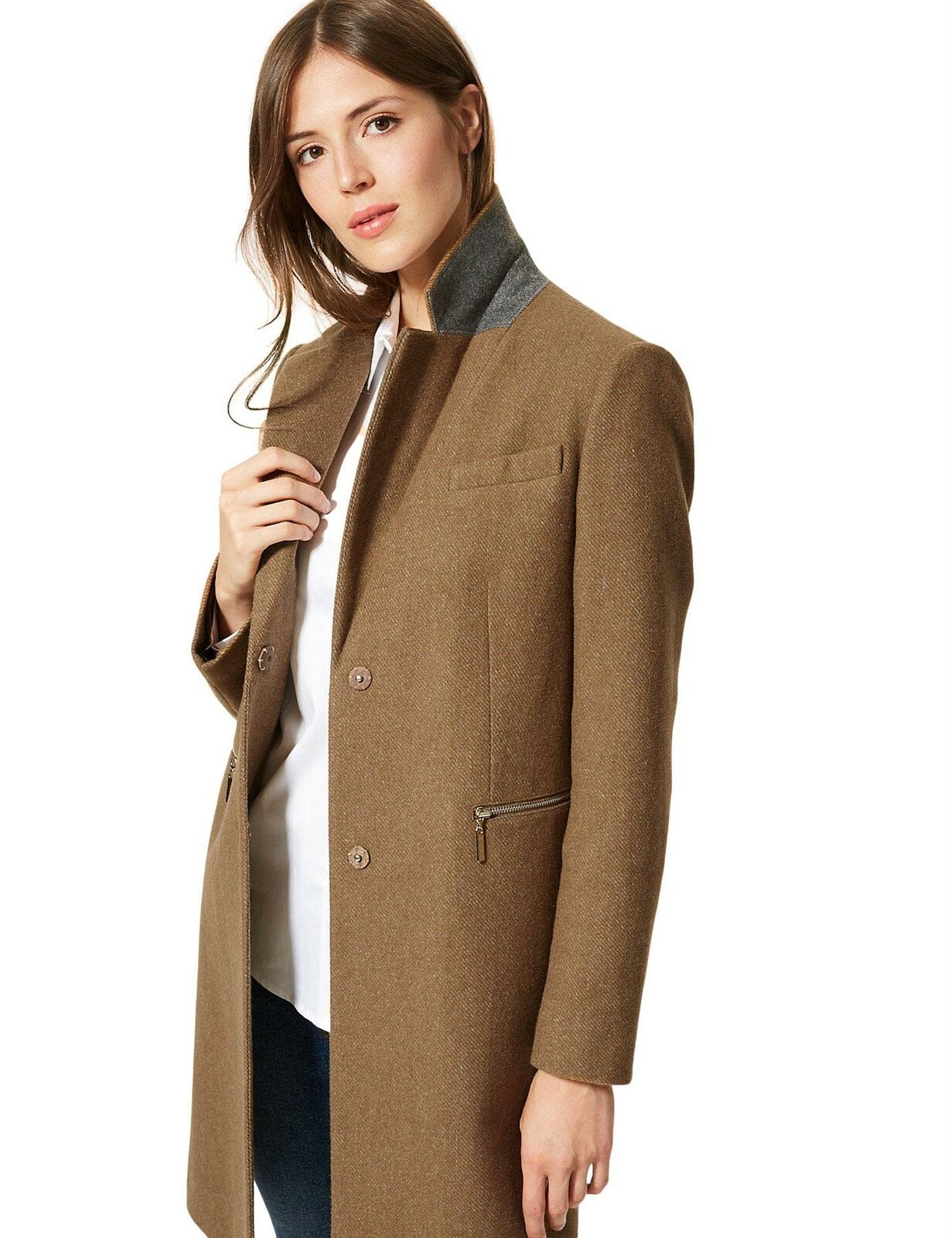 M-amp-S-Wool-Blend-Single-Breasted-Pink-Brown-Winter-Coat-Holly-Willoughby-Size-6-24 thumbnail 15