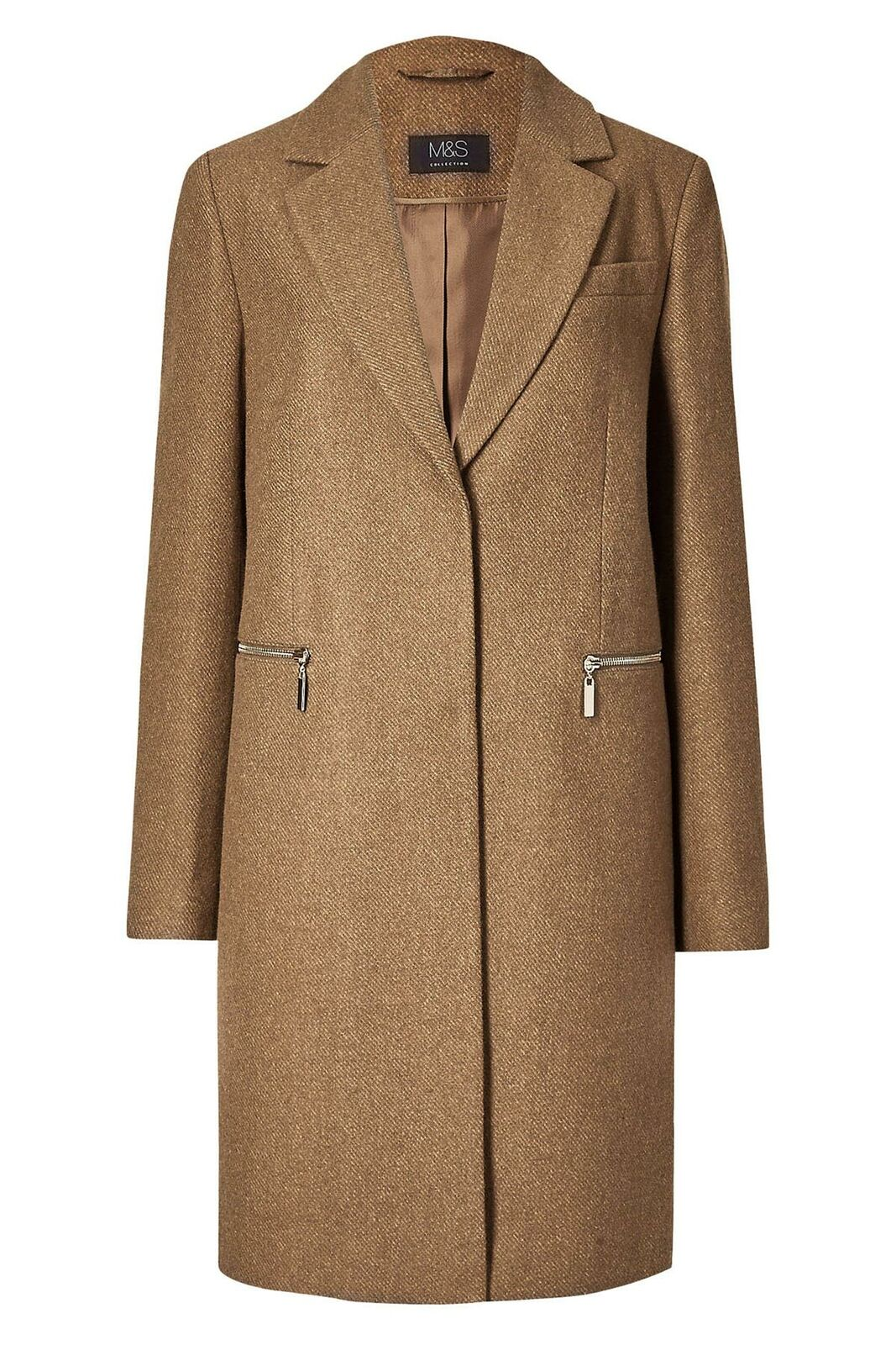M-amp-S-Wool-Blend-Single-Breasted-Pink-Brown-Winter-Coat-Holly-Willoughby-Size-6-24 thumbnail 20