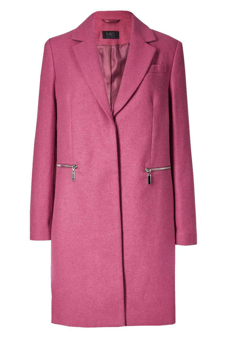M-amp-S-Wool-Blend-Single-Breasted-Pink-Brown-Winter-Coat-Holly-Willoughby-Size-6-24 thumbnail 44