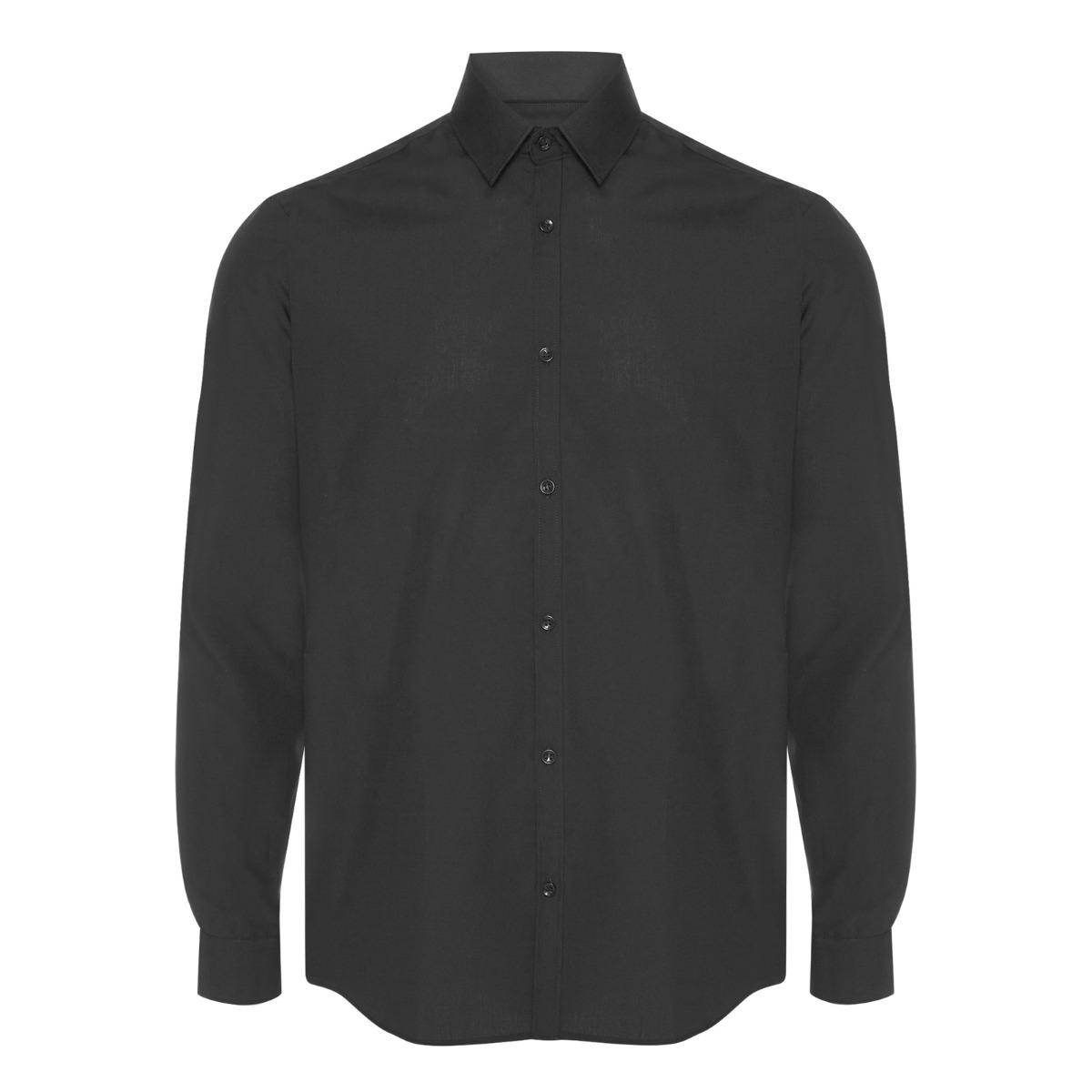 Mens-Black-Formal-Shirt-Long-Sleeve-Regular-Fit-Plain-Business-Work-Collar-Smart thumbnail 3