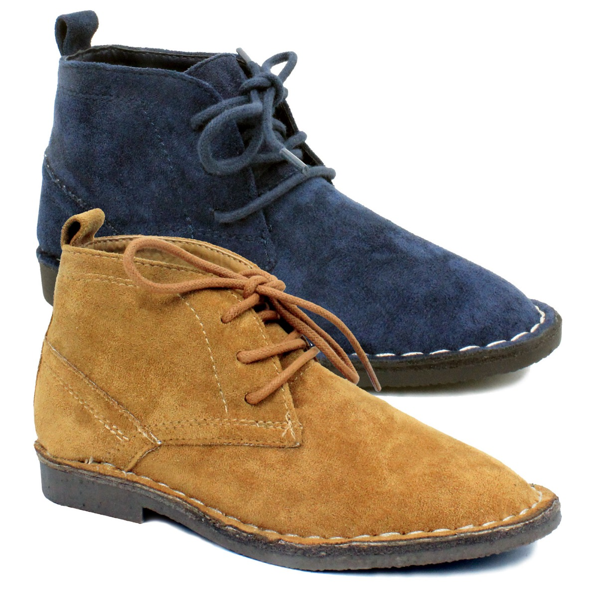 fe1f5bb5e004 ... Kids Boys Suede Leather Desert Dealer Ankle Boots Smart Shoes Lace Up  Sizes 6-6