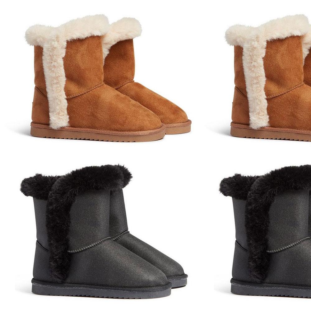 Womens Girls Kids Faux Fur Winter Warm Flat Snugg Ankle Boots Size 13 1 2 3 4 5 Ebay
