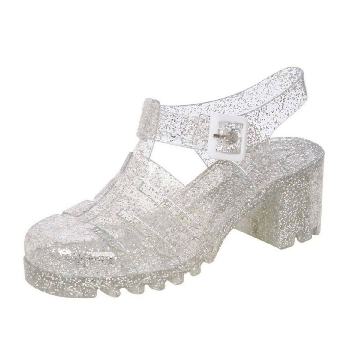 c401389fd6c8 Womens Flat   Heeled Gladiator Jelly Shoes Sandals with Buckle UK ...