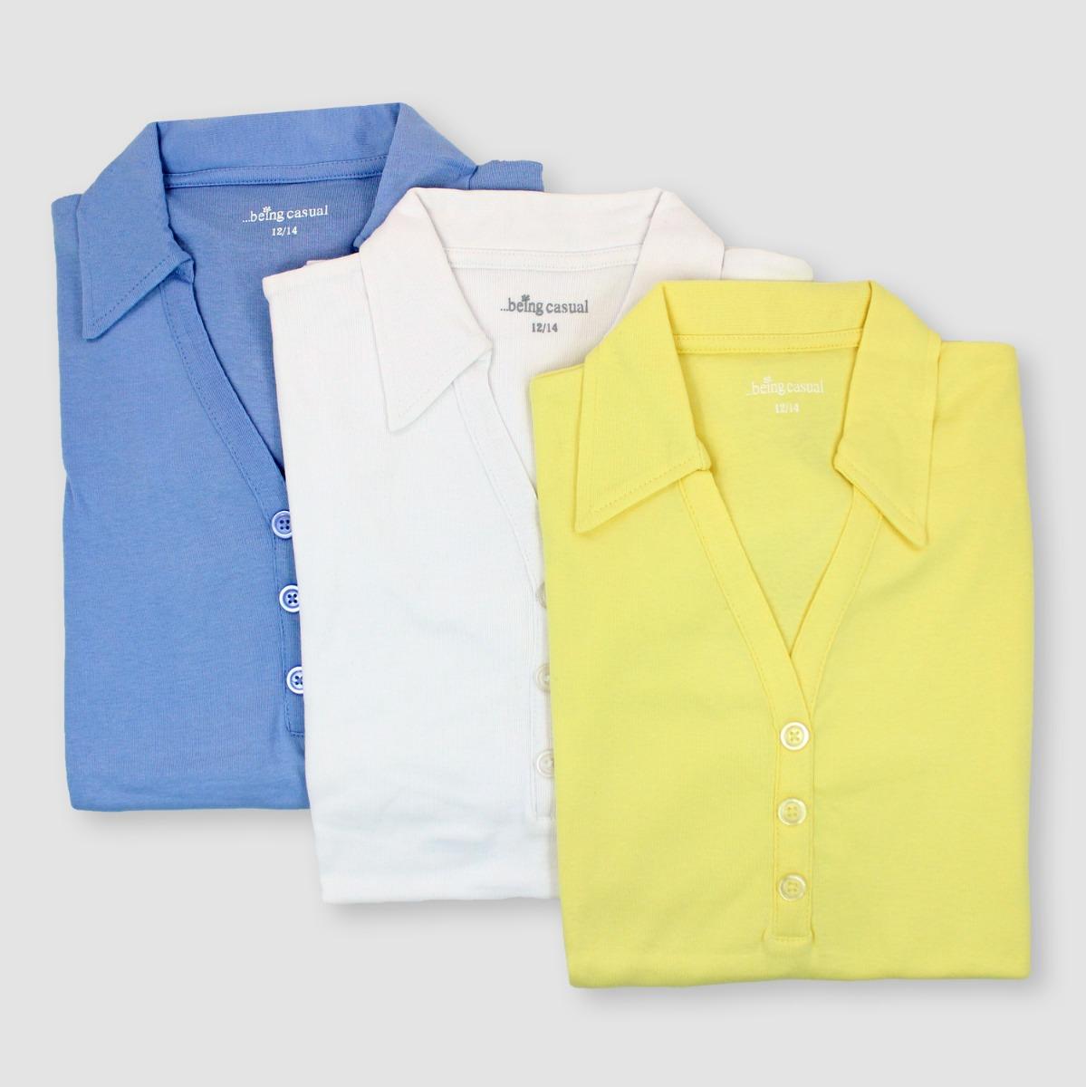 ebb915da055e1d 3 PACK Womens Polo Jersey Tops T Shirts V Neck Short Sleeved ...