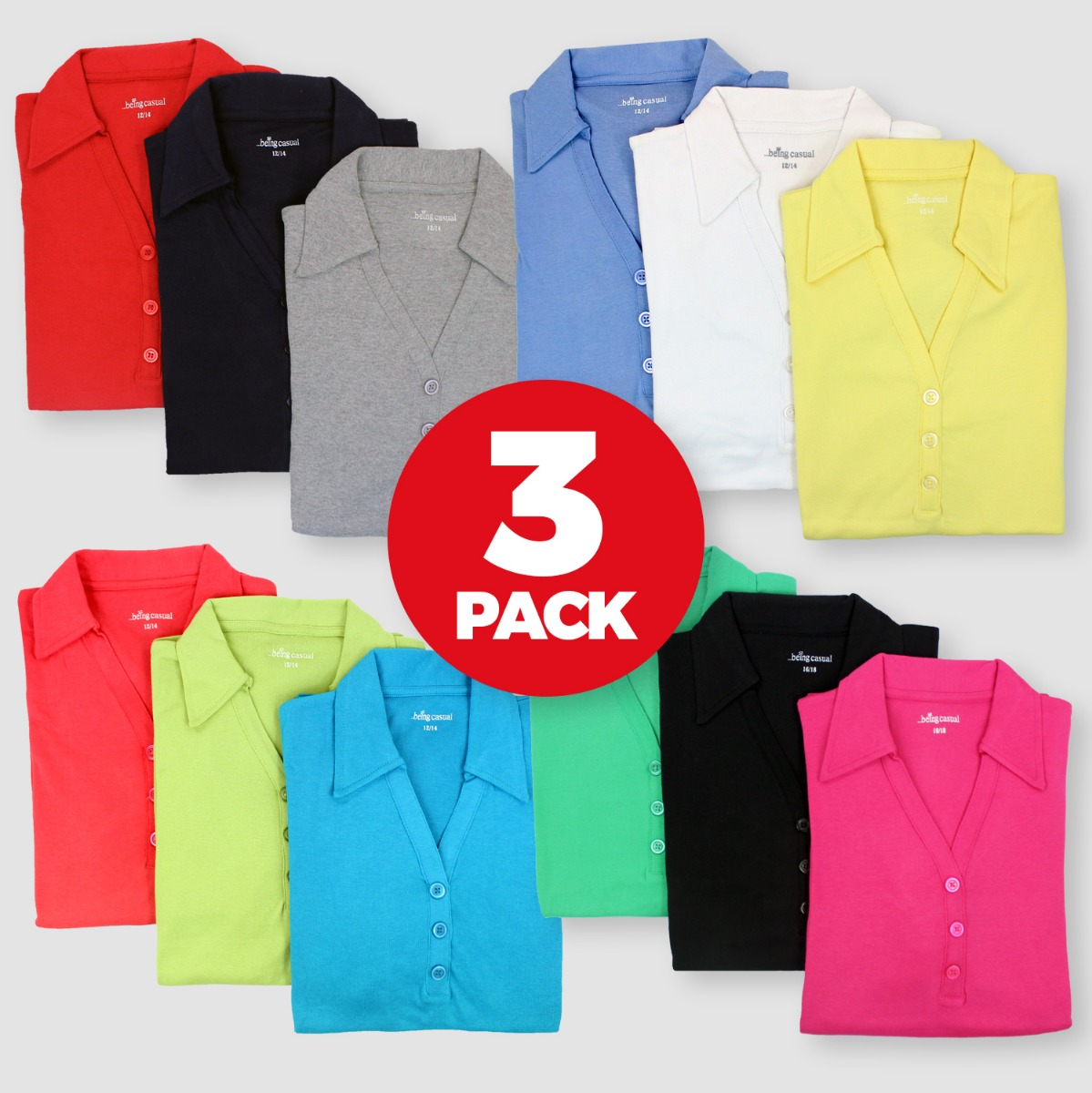 Details about 3 PACK Womens Polo Jersey Tops T Shirts V Neck Short Sleeved Collared Size 12-16