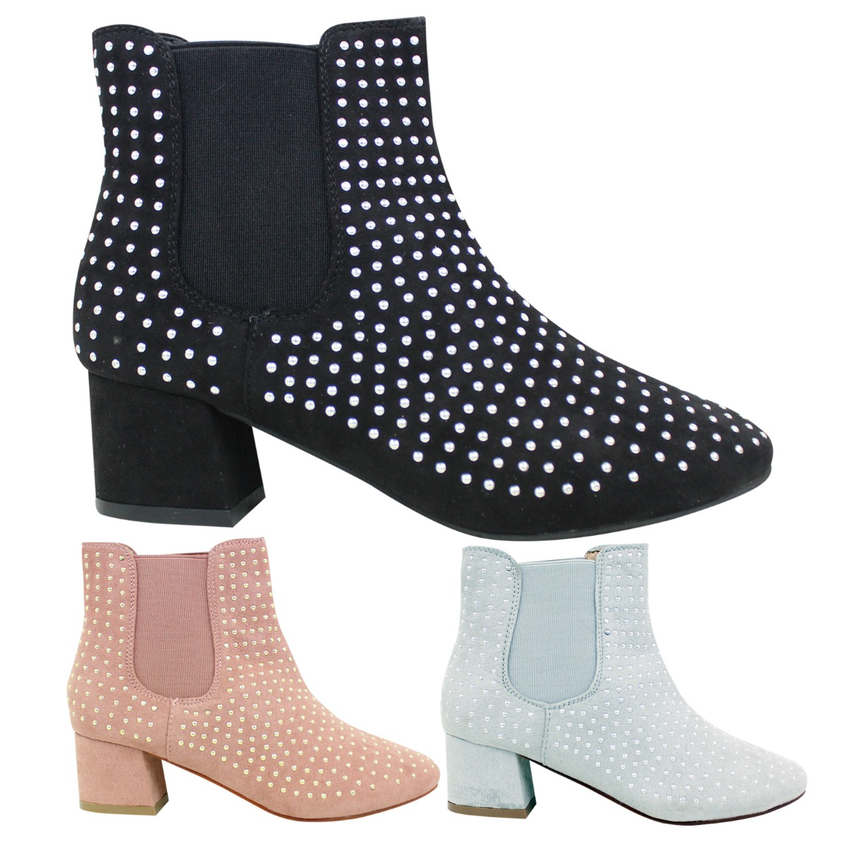 new arrival cheaper prevalent Details about Ladies Womens Chelsea Studded Ankle Boots Cowboy Slip On  Block Heel Size 3 - 9