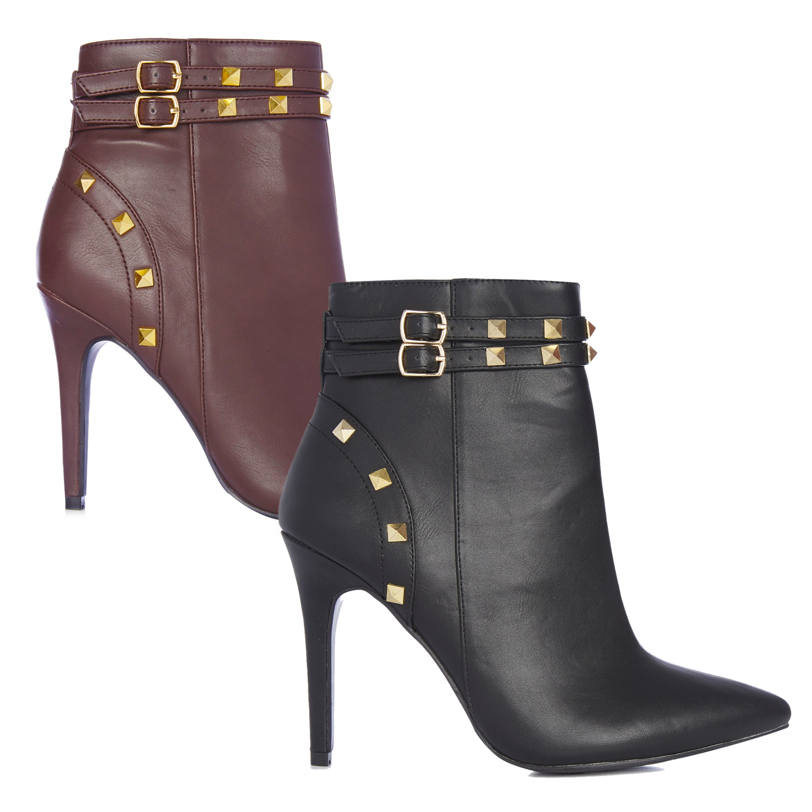 104608a050b6 Womens Stiletto Ankle Boots Studded High Heel Black Burgundy Size 3 ...