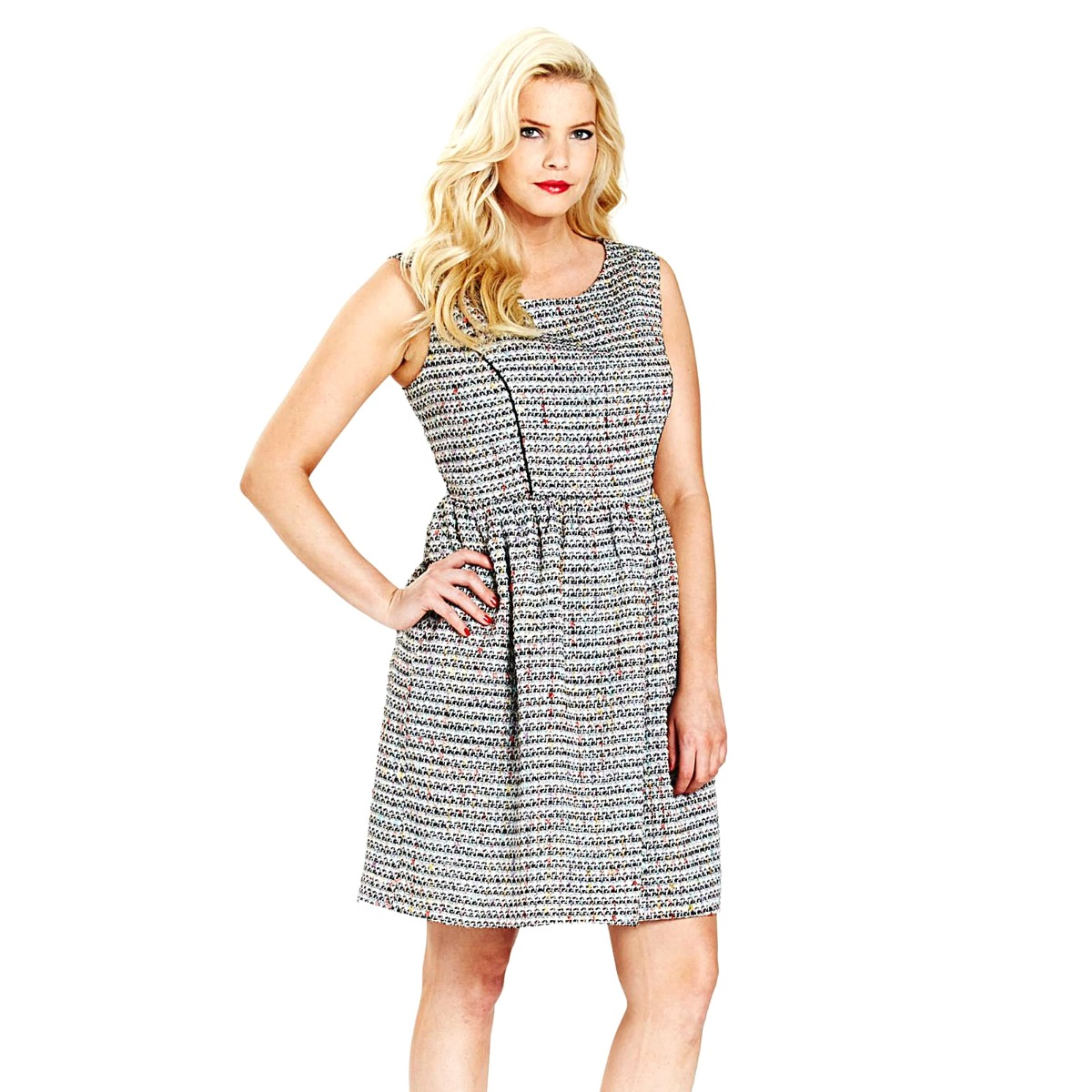 SimplyBe-Womens-Boucle-Skater-Dress-Ladies-Tweed-Office-Evening-Dress-Size-12-22 thumbnail 5